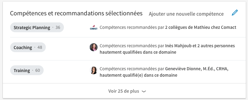 compétences et recommandations profil linkedin